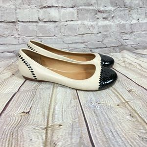 Jack Rogers Flats Nude Black Shoes Round Toe